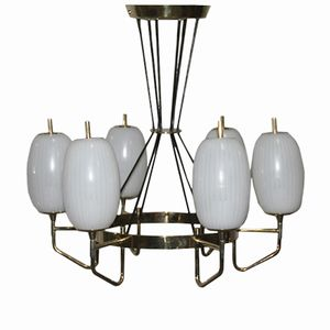 Mid-Century Italian Brass Chandelier with 6 Glass Shades