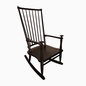 Vintage Belgian Black Rocking Chair, 1960s