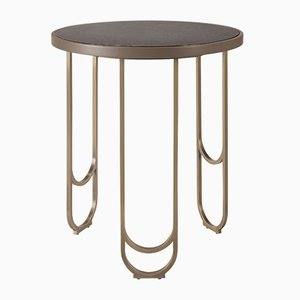 Beige SU 50 Side Table with Brass Plated Legs by 15 West Studio