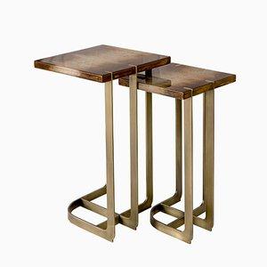 Tavolino Mondrian 32x32 placcato in ottone di 15 West Studio