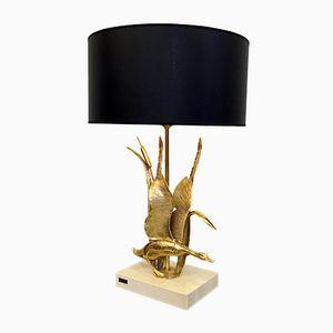Lampe aus Messing mit Schwan und Schilfgras von L. Galeotti, 1970er