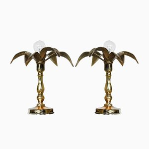 Belgian Brass Hollywood Regency Lamps from Massive, 1970s, Set of 2