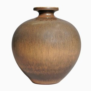 Stoneware Vase with Harefur Glaze by Berndt Friberg for Gustavsberg, 1961