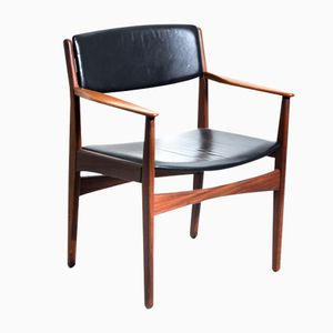 Teak & Black Leather Armchair by Hans Olsen for Frem Røjle, 1960s