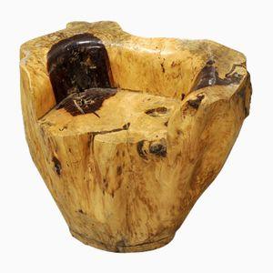 Skulpturaler Brutalistischer Vintage Sitz aus Massivem Holz