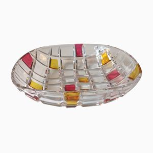 Vintage Checkered Bohemian Modernist Crystal Bowl, 1960s