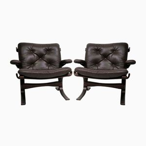 Vintage Scandinavian Armchairs in Leather, 1970s, Set of 2