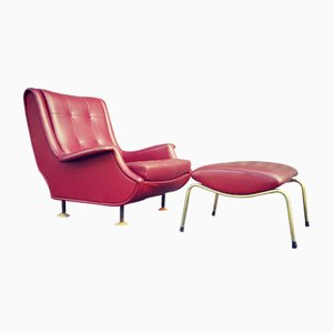 Vintage Regent Armchair and Stool by Marco Zanuso for Arflex