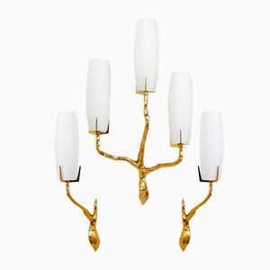 Solid Golden Bronze Sconces from Maison Arlus, 1960s, Set of 3