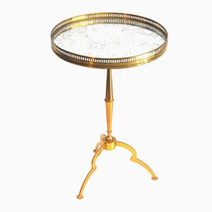 Solid Brass & Mirrored Glass Side Table, 1970s