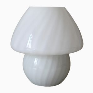 Vintage Space Age Mushroom Milk Glass Table Lamp, 1970s