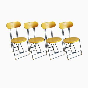 Yellow and Black Cricket Chairs by Andries Van Onck & Kazuma Yamaguchi for Magis, 1983, Set of 4