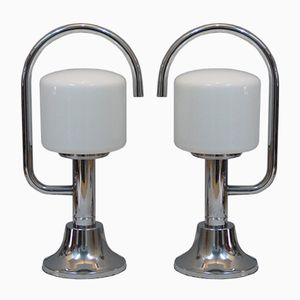 Italian Vintage Table Lamps in Chromed Metal and Opaline, Set of 2