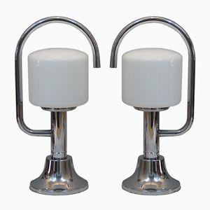 Italienische Vintage Tischlampen aus Verchromtem Metall & Opalglas, 2er Set