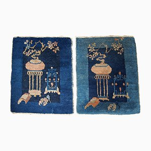 Antique Chinese Peking Handmade Rugs, 1870s, Set of 2