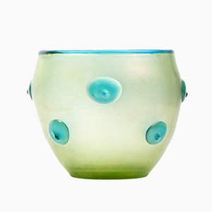 Iridescent Coloured Glass Vase with Turquoise Bumps by Loetz Witwe