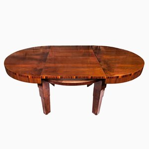 Art Deco Extendable Mahogany Veneer Round Table, 1930s