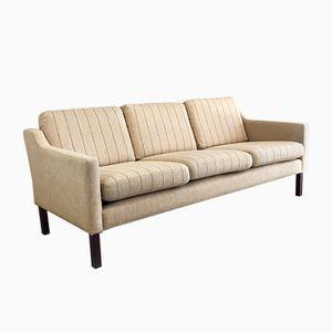 Danish Three-Seater Sofa with Pinstripe Pattern, 1970s