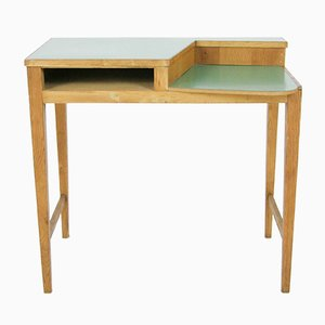 Italian Desk with Green Laminate Top, 1950s