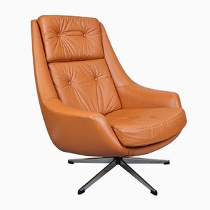 Danish Leather Swivel Chair by H.W. Klein for Bramin, 1970s