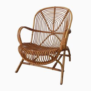 Rattan & Bamboo Armchair from Rohé Noordwolde, 1950s