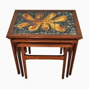 Danish Teak Nesting Tables with Ceramic Tiles, 1960s