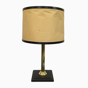 Vintage French Brass and Leather Lamp