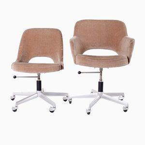 Velvet Office Chairs, 1960s, Set of 2