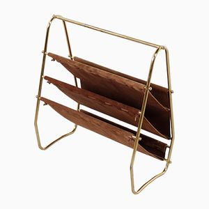 Golden Suede Magazine Rack, 1950s