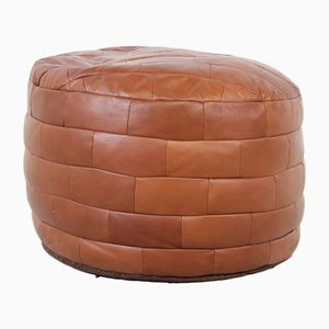 Pouf vintage in pelle marrone patchwork, anni '70