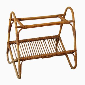 French Rattan Magazine Rack, 1950s
