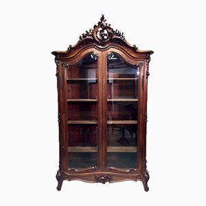 Antikes Ludwig XV Walnuss Bücherregal