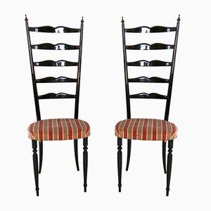 Italian Ebonized Beech Chiavari Chairs, 1950s, Set of 2