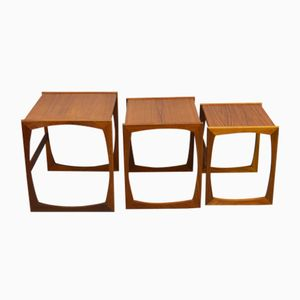Mid-Century Quadrille Nest of Teak Tables from G-Plan, Set of 3