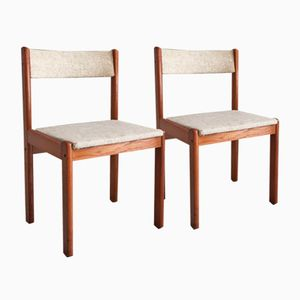 Mid-Century Danish Modern A/S Teak Oatmeal Tweed Dining Chairs from Findahl Mobler, Set of 2