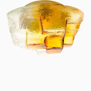 Mid-Century Amber Colored Ceiling Light, 1960s