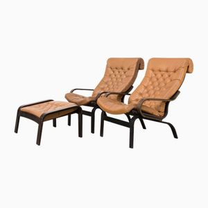 Scandinavian Wenge & Cognac-Colored Leather Armchairs with Ottoman, 1970s