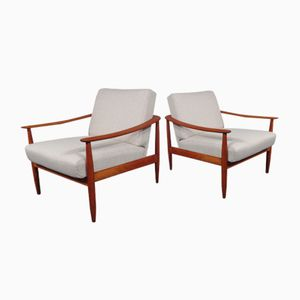 Mid-Century Cherry Wood Arm Chairs from Knoll, 1950s, Set of 2