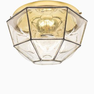 Vintage Glass and Iron Wall or Ceiling Lamp from Limburg, 1960s