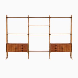 Mid-Century Teak Wall Unit with 8 Shelves and 2 Cabinets from SimplaLux, 1960s