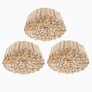 Vintage Textured Glass Wall or Ceiling Light, 1960s, Set of 3
