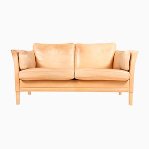 Loveseat in Tan Leather by Mogens Hansen, 1980s
