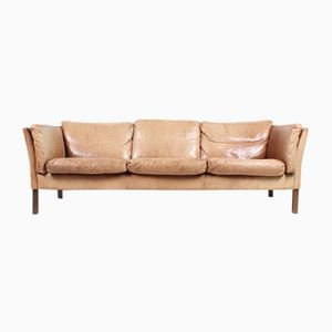 Vintage Danish Three-Seater Tan Leather Sofa, 1970s