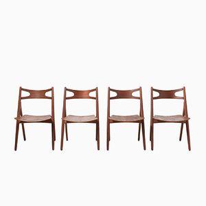 Mid-Century CH29 Sägebock Esszimmerstühle von Hans J. Wegner für Carl Hansen & Søn, 4er Set