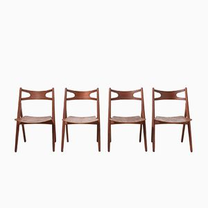 Mid-Century CH29 Sawbuck Dining Chairs by Hans J. Wegner for Carl Hansen & Søn, Set of 4