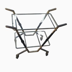 Trolley in Brass with Glass Shelves by Cesare Lacca, 1950s