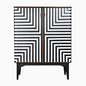 Swedish Cabinet with Labyrinth Op-Art Pattern, 1950s