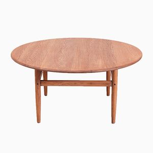 Mid-Century Round Oak Coffee Table