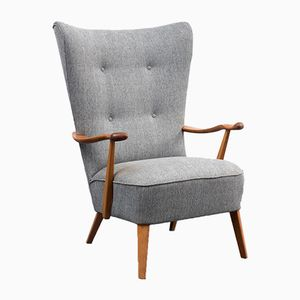 Mid-Century Wingback Armchair with Walnut Legs and Armrests