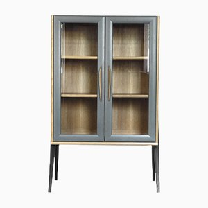Scandinavian Tall Cabinet with Milled Glass, 1970s